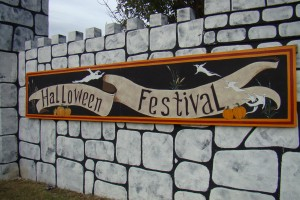 A Halloween banner welcomes visitors to the Haunted Castle
