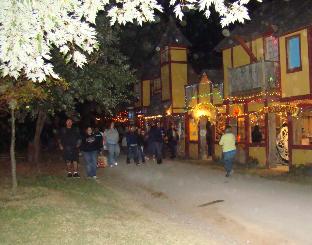 Guests walk the Halloween streets